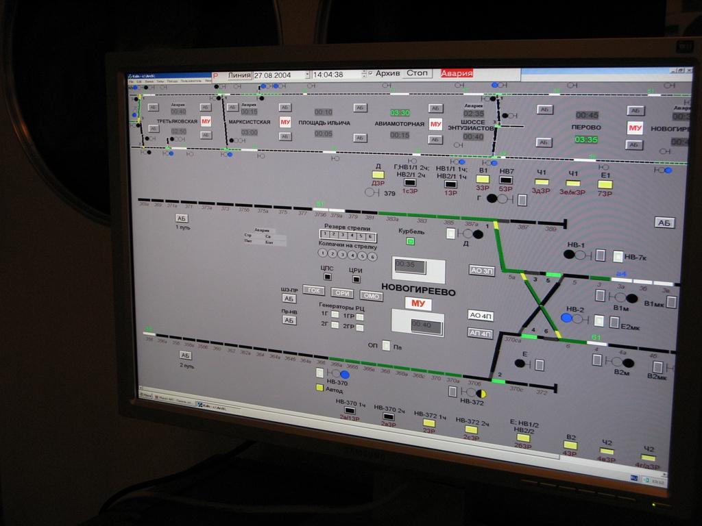 Дисплей системы управления метро